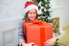 一个女孩的画象有圣诞节礼物的 免版税库存图片