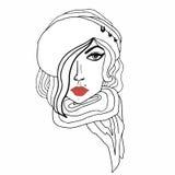 一个女孩的画象有明亮的红色嘴唇的 免版税图库摄影