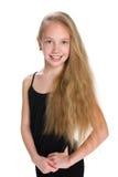 一个女孩的画象有流动的头发的 免版税库存照片