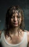 一个女孩的画象有湿头发的, 库存照片