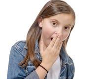 一个女孩的画象有牛仔裤夹克的 免版税库存图片