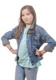 一个女孩的画象有牛仔裤夹克的 库存图片