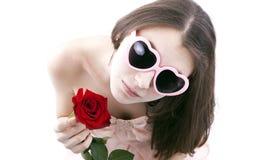 一个女孩的画象有玫瑰的 免版税图库摄影