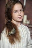 一个女孩的画象有蝴蝶的 免版税图库摄影