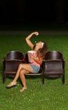 一个女孩的画象用玉米花 免版税图库摄影