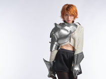 一个女孩的画象装甲的 免版税库存照片