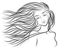 一个女孩的Handdrawing画象有头发的 图库摄影