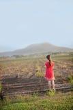 一个女孩看在领域上入山。 免版税库存图片