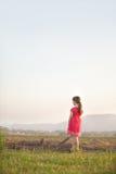 一个女孩看在领域上入山 图库摄影