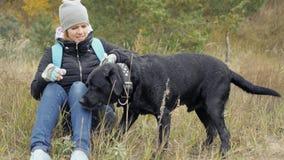 一个女孩采取她的衣领的狗 并且要投入她近 照片 免版税图库摄影