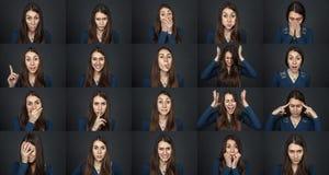 一个女孩-许多面孔 美丽的女孩年轻人 库存照片
