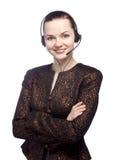 一个女性客户服务部的纵向 免版税库存照片