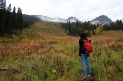 一个女性旅行家寻找她的道路 免版税库存图片