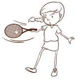 一个女性网球员的一个简单的剪影 库存照片