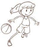 一个女性蓝球运动员的一个简单的剪影 库存图片