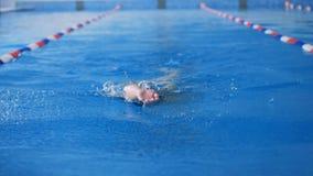一个女运动员在水池反过来游泳使用每条胳膊 影视素材