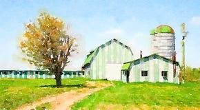一个好的绿色农场的水彩 免版税库存照片