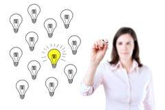 画一个好主意概念的女商人 查出在白色 图库摄影