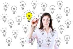 画一个好主意概念的女商人 查出在白色 免版税库存照片