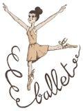 一个妇女跳芭蕾舞者的例证与在丝带写的芭蕾的 免版税库存图片