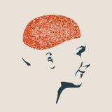 一个妇女头的例证有脑子的 免版税库存图片