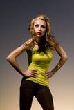 一个姿势的妇女在日落 图库摄影