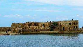 一个威尼斯式堡垒在老港口干尼亚州,克利特,希腊 库存照片