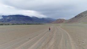 一个孤独的旅客沿在山的一个石谷走 有背包的女孩游人 股票录像