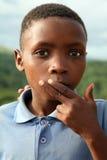一个孩子的画象在庭院路的,南非 免版税图库摄影