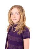 一个孩子的画象有紫色毛线衣和围巾的 免版税图库摄影