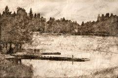 一个宁静的Summer湖的剪影 库存例证