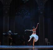 一个安静和谦虚少女光和阴影这芭蕾胡桃钳 库存照片