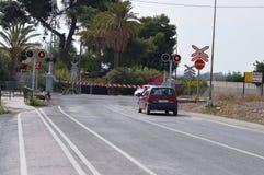 一个安静的西班牙平交路口 库存图片