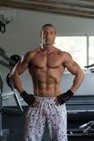 一个完全适合的肌肉人的画象 库存照片