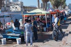 一个室外鱼市在科金博,智利 库存照片
