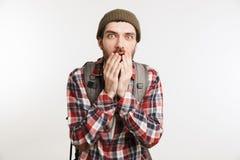 一个害怕有胡子的人的画象格子花呢上衣的 免版税图库摄影