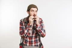 一个害怕的有胡子的人的画象格子花呢上衣的 库存照片