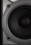 一个家庭扩音器特写镜头的低音扬声器的片段 图库摄影