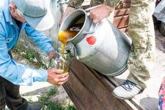 一个容器用甜甜蜂蜜 工作蜂农 养蜂业医治用的产品  5月,花蜂蜜 免版税库存图片