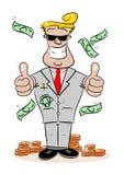 一个富裕的成功的动画片商人 免版税库存图片