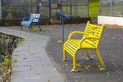 一个对五颜六色的公园长椅在病区在曼格唐郡停放在北爱尔兰 免版税库存照片