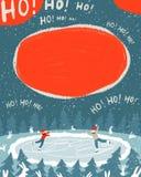 一个对恋人冰鞋在晚上在冰的森林 库存例证