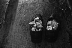一个对湿鞋子在一个雨天 库存图片