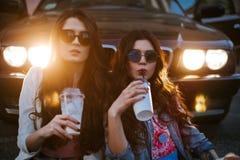 一个对的室外生活方式画象戴太阳镜的最好的朋友相当女孩,佩带一个明亮的牺牲者 免版税图库摄影