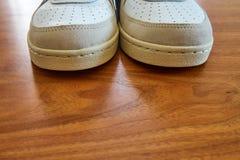 一个对的正面图葡萄酒白色运动鞋鞋子 库存照片
