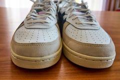 一个对的正面图葡萄酒白色运动鞋鞋子 库存图片
