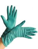 一个对端庄的妇女的皮手套 库存图片