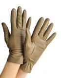 一个对端庄的妇女的皮手套 免版税库存图片