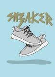 一个对运动鞋炫耀鞋子时髦运动鞋的例证 免版税图库摄影