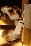 一个对金鞋子 库存照片